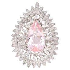 4.29 Carat Morganite Diamond 18 Karat White Gold Cocktail Ring