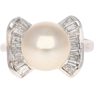 Cultured South Sea Pearl and Diamond 14 Karat White Gold Cocktail Ring