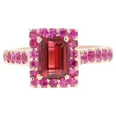 Pink Tourmaline and Pink Sapphire 14 Karat Rose Gold Ring