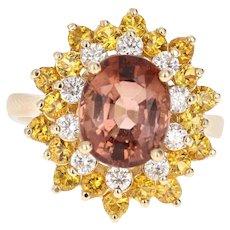 4.91 Carat Tourmaline Diamond 14 Karat Yellow Gold Statement Ring