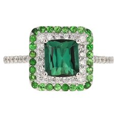 2.48 Carat Green Tourmaline Diamond 18 Karat White Gold Cocktail Ring