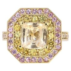 GIA Certified 4.14 Carat Non-Heated Yellow Pink Sapphire Diamond 18K Gold Ring