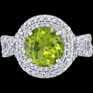 4.28 Carat Peridot Diamond 14 Karat White Gold Double Halo Ring