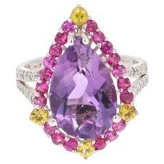 6.54 Carat Amethyst Pink and Yellow Sapphire Diamond 14 Karat White Gold Ring