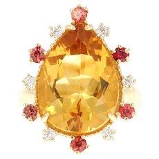 11.09 Carat Pear Cut Citrine, Sapphire and Diamond 14 Karat Yellow Gold Ring