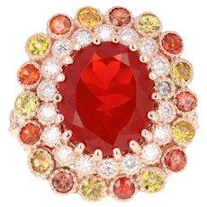 Fire Opal Sapphire Diamond 14 Karat Rose Gold Cocktail Ring