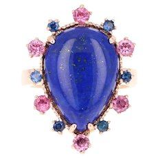 9.04 Carat Lapis Lazuli Tourmaline and Sapphire Cocktail 14 Karat Rose Gold Ring