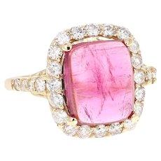 5.27 Carat Pink Tourmaline Diamond 14 Karat Yellow Gold Cocktail Ring