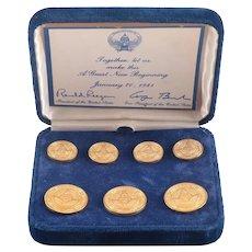 Ronald Reagan Inauguration Brass Blazer Button Set