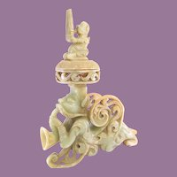 Chinese Nephrite Jade craved Censer Pipe Holder Archaic Zhajiao Sheng Incense