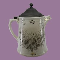 Ironstone Aesthetic Floral Brown Transferware Coffee Pot Gilt w/ Pewter Lid Marked 19th Century