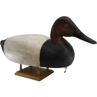Bordentown Canvasback Carved Duck Decoy Signed Charles Black circa 1940s