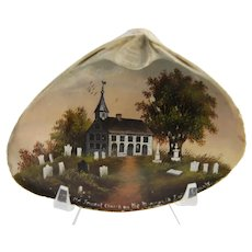 Carrie A Bowne Swift oil on clam shell circa 1880s Monmouth Battle Ground Tennent Church