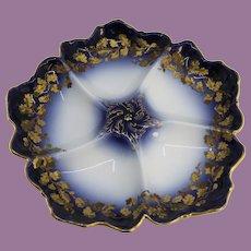 French T&V Limoges Oyster Plate, Cobalt, Blue & Gilt, Tressemann & Vogt