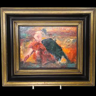 Artist Lenore Beran, oil on board painting of a Bull and Matador