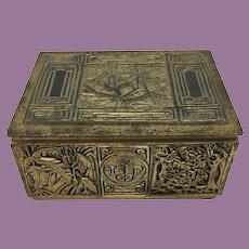 Tiffany Studios Dore Gold Gilt Bronze Bookmark Cigarette Humidor Box