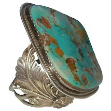 Sterling Silver turquoise cuff bracelet Navajo