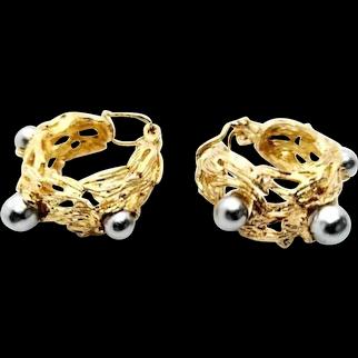 Grosse Germany Clip On Earrings Imitation Pearls