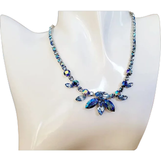 Signed Sherman Blue Rhinestone Necklace