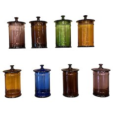 Set of Eight 19th Century Colored Glass Apothecary Jars