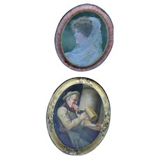 "H.D. Beach Co. Coshocton Ohio Tray 16 1/2 X 13 1/2 ""Man out of Ale"" & ""Woman in Veil"""