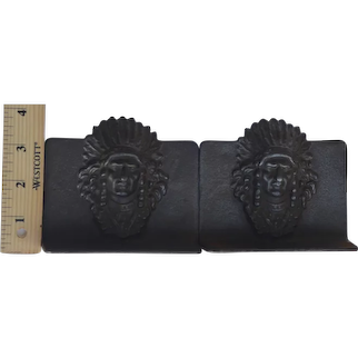 Native American Chief Bookends Cast iron Dark Brown