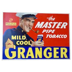 "Granger "" The Master Pipe Tobacco"" Mild Cool Cardboard advertising Sign 16 1/2"""