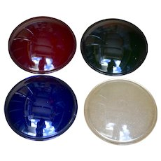 HUB Electric Company Inc. Chicago, Illinois 5 5/8 Diameter glass lenses set of 4 green, red, blue, clear