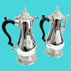 Superb matching vintage sterling silver Coffee & Hot water pots - Hallmarked London 1928 _ Goldsmiths & Silversmiths Company