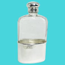 Antique Victorian sterling silver and glass Hip Flask. Hallmarked London 1900