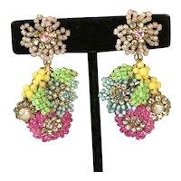 Vintage Miriam Haskell Earrings~ Multi-Color-Seed Beads/Rhinestones/Pearls/Gilt Filigree~ Signed