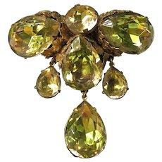 Vintage Miriam Haskell Brooch~ Olive Green Glass/Gilt Filigree~ Signed (Horseshoe Mark)