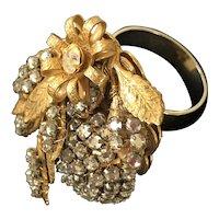Vintage Miriam Haskell Ring~ Crystals /Rhinestone /Gilt Filigree ~ Signed
