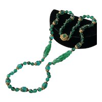 Vintage Miriam Haskell Necklace~ Bottle Green Glass Beads/Gilt Filigree~ Signed