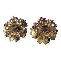 Vintage Miriam Haskell Earrings~ Amethyst Purple/ Lilac Crystal Rhinestones/ Gold Tone Filigree~ Signed