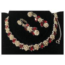 Vintage Trifari Alfred Philippe Bracelet & Earrings Set~ Ruby Red/Clear Rhinestones/Silver Tone~ Signed