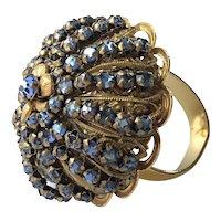 Vintage Miriam Haskell Ring~ Blue Rhinestone Crystals/Gilt Filigree~ Signed
