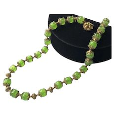 Vintage Miriam Haskell Necklace~ Peridot Green Swirled Glass Beads/Gilt Filigree~ Signed