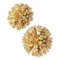 Vintage Miriam Haskell Earrings~ Citrine Rhinestones/Gold Tone Filigree~ Signed