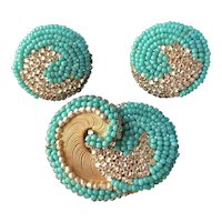 Vintage Miriam Haskell Brooch & Earrings Set~Turquoise Blue Beads/Pearls/Crystals/Gold Tone~Signed