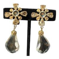 Vintage Schreiner Chandelier Earrings~Clear Lucite/Pale Topaz Rhinestones/Gilt Filigree~ Signed