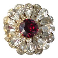 Vintage Miriam Haskell Brooch Pin~ Ruby Red/Clear Rhinestones/Gold Tone~ Signed