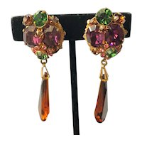 Vintage Miriam Haskell Crystal Drop Earrings~ Golden Amber Crystals/Multi-Color Rhinestones/Gold Tone~ Signed