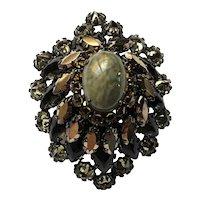 SCHREINER NEW YORK Brooch Pin~ Art Glass/Rhinestones~ Olive Green/Topaz/Antiqued Silver Tone~ Signed