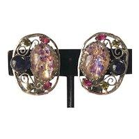 Vintage Schreiner Earrings~ Art Glass/Rhinestone/Filigree/Silver Tone ~Signed