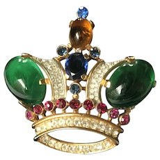 Vintage Trifari Alfred Philippe Crown Brooch Pin (Large)~ Jelly Belly Cabochons/Rhinestones/Gold Tone~ Signed
