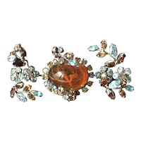 Vintage Schreiner N.Y Brooch Pin- Amber Art Glass/Blue/Topaz Rhinestones/ Silver Tone~ Signed