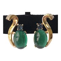 Vintage Trifari Alfred Philippe Earrings~ Jelly Belly Green Glass/Blue/Clear Rhinestones ~Signed