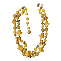 Vintage Miriam Haskell Necklace ~Double Strand~ Yellow Glass Beads/Gold Tone ~Signed