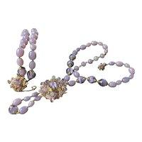 Vintage Miriam Haskell Necklace & Bracelet Set~ Purple Lavender Beads/Gilt Filigree~ Signed